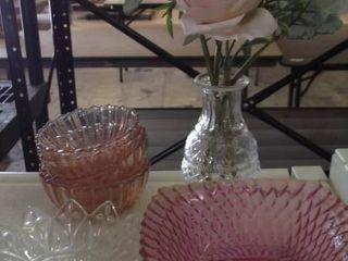 rose glass   bowls   dishes bud vases