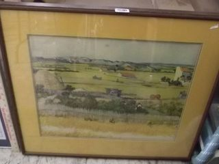 old framed farming picture   signed