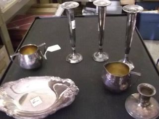 silver plated items   candle sticks   vase and more