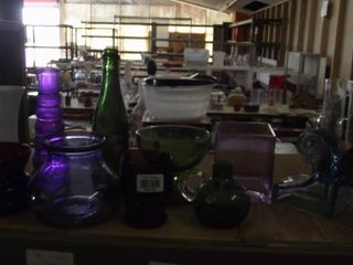 purple and green glass items and more