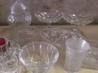 glass items   candy dish   glass trays