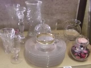 glass vases   glass plates   more cut glass