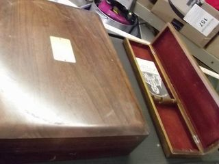 2 wood boxes   silverware box
