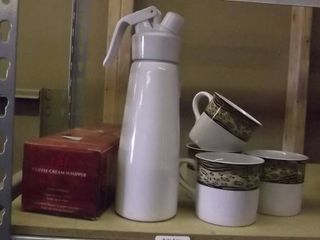 coffee thermos and coffee mugs