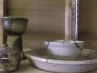 clay drink glass and bowl   serving plate