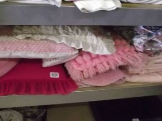 pink pillows and other items