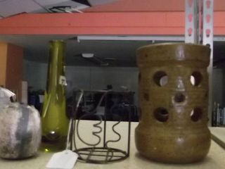 bud vase   clay candle holder   metal chicken