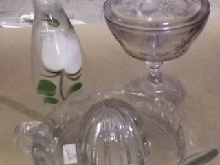 glass items   juicer  bud vase   candy dish w lid
