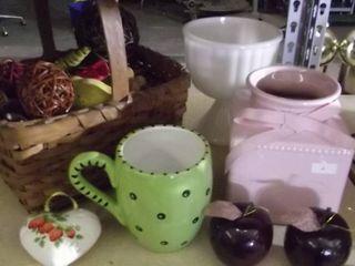woven basket   milk glass vase   large coffee mug   heart