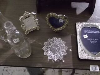 silver plated picture frames   glass items