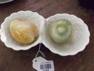 china saucers   glass fruit