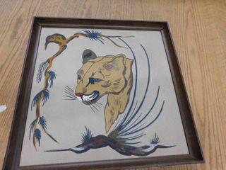 tiger art work   framed