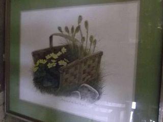 framed art   basket and flowers