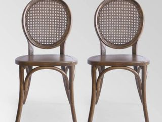 Chrystie Elm Wood  amp  Rattan Dining Chair by Christopher Knight Home  Set of 2