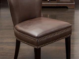 Jackie Contemporary Bonded leather Dining Chair w  Nailhead Accents by Christopher Knight Home