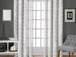 ATI Home Panza Metallic Sheer Grommet Top Curtain Panel