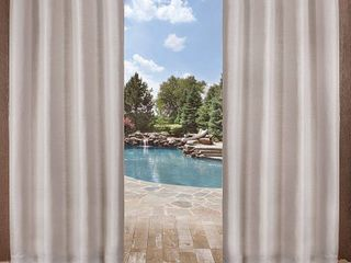Delano Indoor Outdoor Heavy Textured Grommet Top Window Curtain Panels   Set of 2