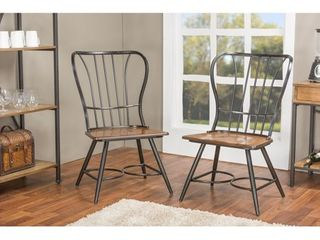 Carbon loft Rudolph Industrial Metal  amp  Wood Dining Chairs   Set of 2