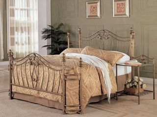 Gracewood Hollow Faulkner Iron Goldtone Headboard  amp  Footboard