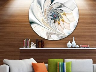 DesignArt  White Stained Glass Floral Art  Floral Circle Metal Wall Art