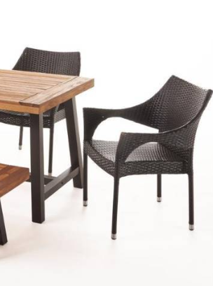 Fletcher Outdoor Acacia Wood Wicker Dining Chairs by Christopher Knight Home   Set of 2
