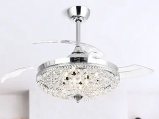 Modern Chrome Crystal Ceiling Fan 6 light Chandelier w  Remote
