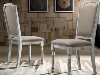 Rustic White Iris Dining Chairs   Set of 2