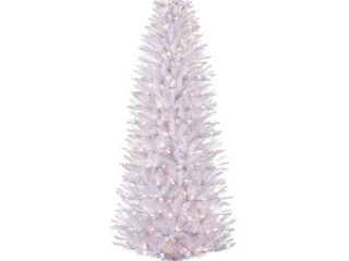 Puleo International 6 5 ft Pre lit White Pencil Fraser Fir Pencil Artificial Christmas Tree with 250 Ul listed Clear lights