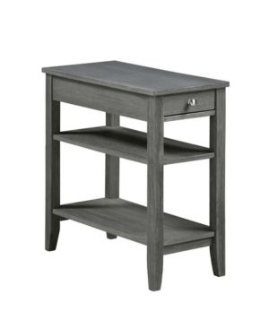 Convenience Concepts American Heritage Three Tier End Table with Drawer  Color Dark Wire Brush Gray