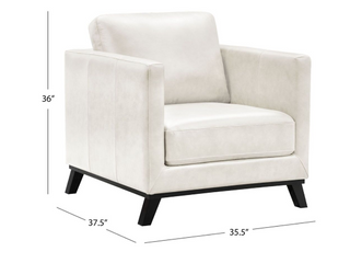 Abbyson Woodstock Mid Century Top Grain leather Chair  Retail 709 99