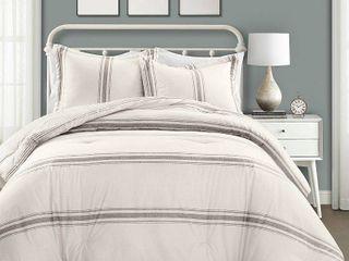 lush Decor Farmhouse Stripe 3 Piece Comforter Set Retail 127 99