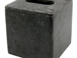 Creative Home Natural Charcoal Marble Square Tissue Box Holder Tissue Cover for Bathroom  livingroom Countertop Organize  Dark Gray