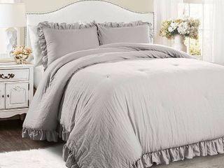 King 3pc Reyna Comforter   Sham Set light Gray   lush Decor