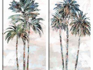 Rainbow Palms I   II Wall Decor