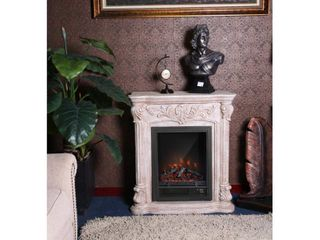PolyStone Roma Electric Fireplace Heater Mantel with Remote  Retail 577 49