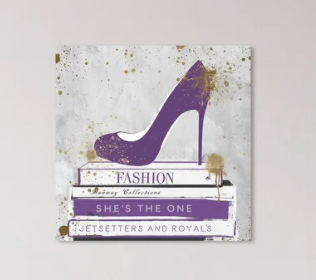 Oliver Gal  She is the One Books   Fashion and Glam Wall Art Canvas Print Shoes   Purple  White  Retail 116 49