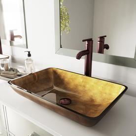VIGO VG07506 Rectangular Copper Glass Vessel Bathroom Sink