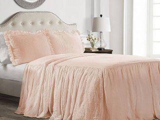 Queen 3pc Ruffle Skirt Bedspread Set Blush   lush Decor