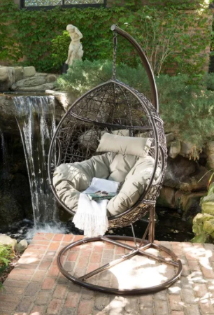 Kylie Wicker Hanging Basket Cushioned Chair with Stand by Christopher Knight Home  Retail 459 99
