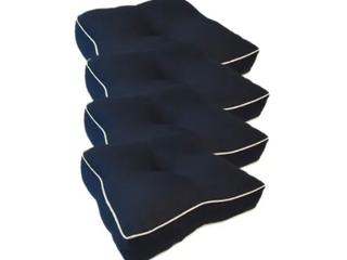 Suntastic Indoor  Outdoor Navy Textured Seat Cushions  Set of 4  Retail 178 48