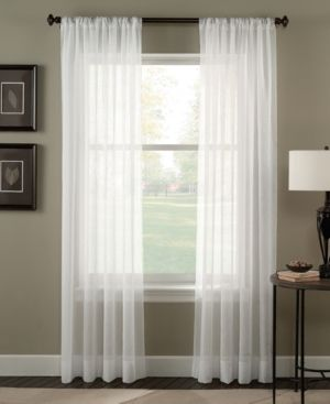 95 x51  Trinity Crinkle Voile Sheer Curtain Panel White   Curtainworks Set of 2