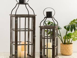 Glitzhome Set of 2 Oversized Wood and Metal lantern