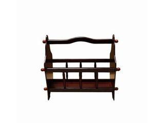 Wooden Magazine Rack with Top Curved Handle  Cherry Brown Retail 83 49
