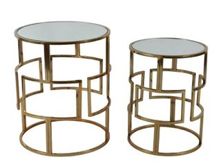 Silver Orchid Banks Mirrored Nesting Tables  Set of 2  Retail 136 99