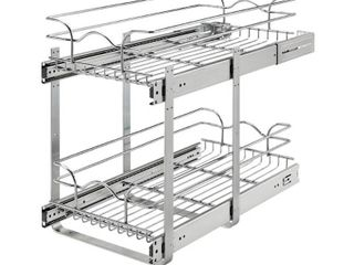 Rev A Shelf 5WB2 1222CR 1 12 x 22  Two Tier Kitchen Storage Wire Basket  Chrome