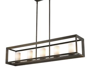 Golden lighting Smyth Gunmetal Bronze With Opal Glass Steel 5 light linear Pendant Retail 338 00