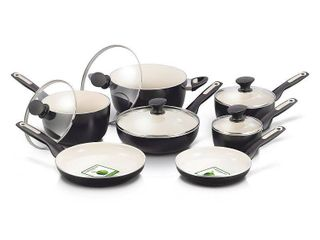 GreenPan 12 Piece Rio Ceramic Non Stick Cookware Set  Black