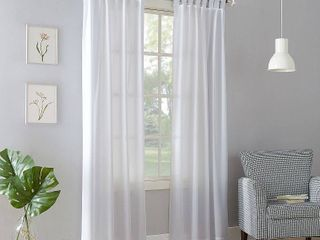 Set of 2 84 x40  Joshua Semi Sheer Tab Top Curtain Panel White   No  918