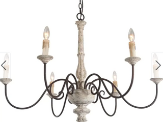 The Gray Barn Ingleside French Country Distressed White Chandelier   D37  x H28  Retail 401 97