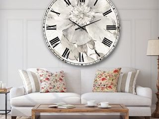 The Gray Barn Jartop  Indigold Grey Peonies II  Farmhouse Oversized Metal Clock Retail 177 49